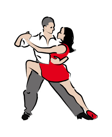 incendiary: Man and woman dancing tango  stylized illustration