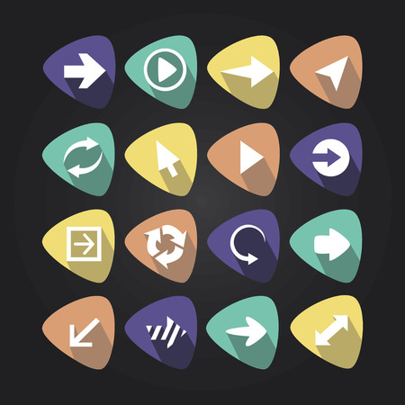 come back: Triangular icons with arrows and shadow Illustration