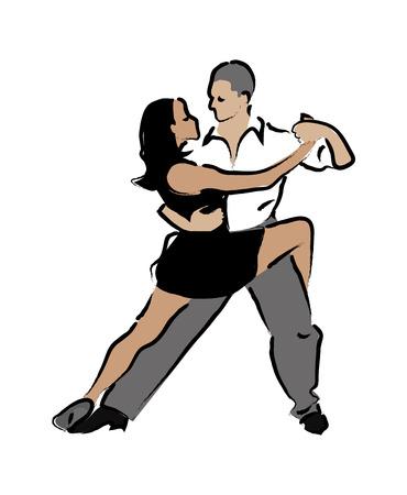 circling: Abstract illustration of dancing couples