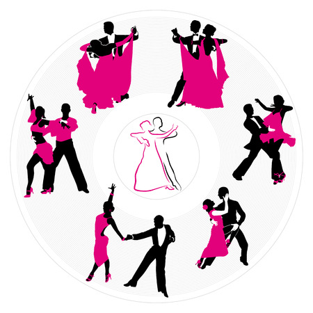 circling: couples dancing on the background of a circular plate