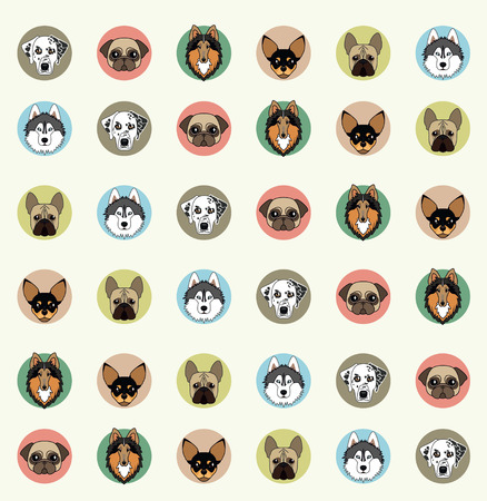 wallpaper with pets of different breeds Vector