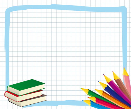 School frame with colored pencils and books