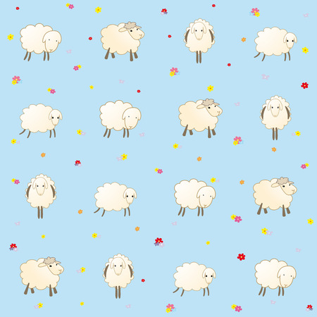 padded: blue baby wallpaper with sheep Illustration