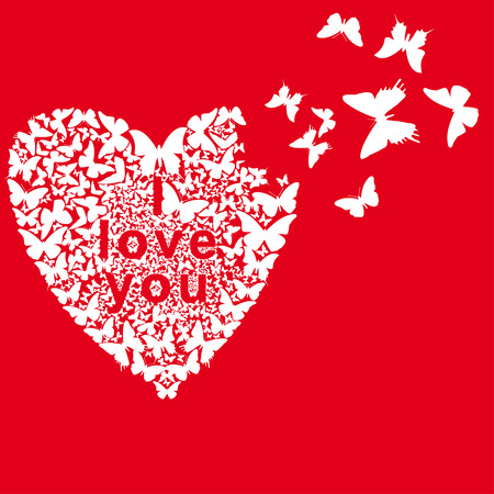 white butterflies folded heart on a red background