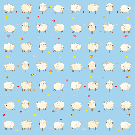 padded: childrens wallpaper with sheeps Stock Photo