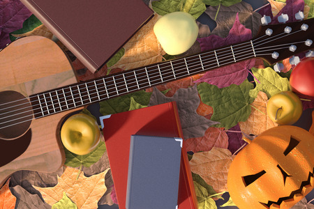 poems: Autumn illustration in 3D