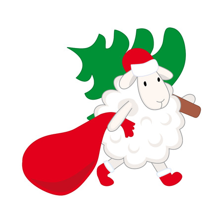 humility: lamb carries a Christmas tree