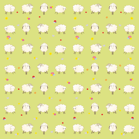 assume: wallpaper with lambs on a green background Illustration