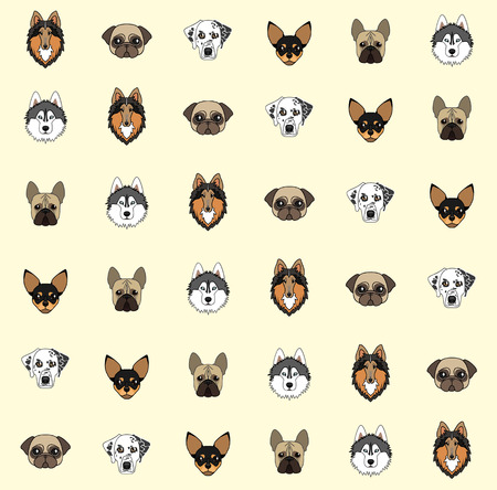 pug nose: yellow background with dogs of various breeds