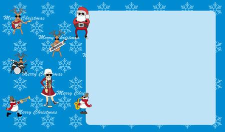 Blue humorous Christmas card invitation Vector