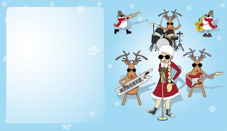 Christmas card with girl, snowman and reindeer Ilustracja