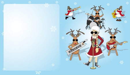 Christmas card with girl, snowman and reindeer Vectores