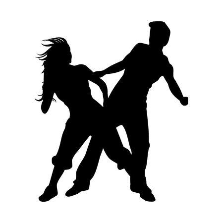 Man and woman dancing hip-hop