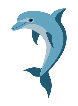 painted blue dolphin on white background