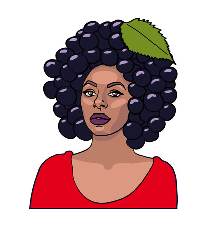 american stories: curvy girl with berry hair Illustration