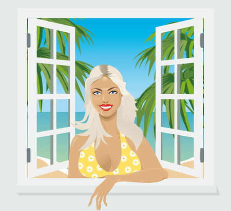 sexy breasts: girl in the window smiling invitingly