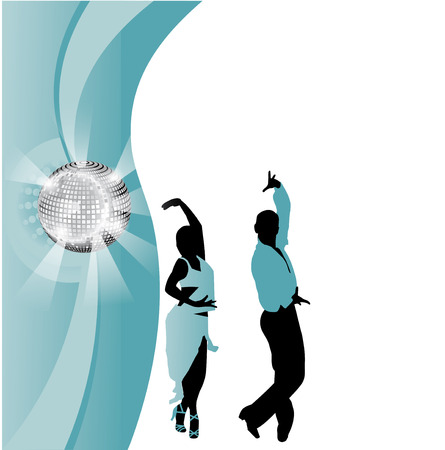 incendiary: vector dancing couple on the background of the ball