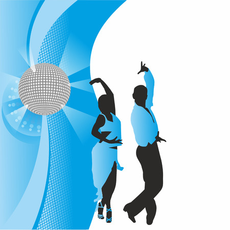 incendiary: dancing couple on the background of the ball