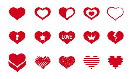 conjunto de vectores de corazones rojos