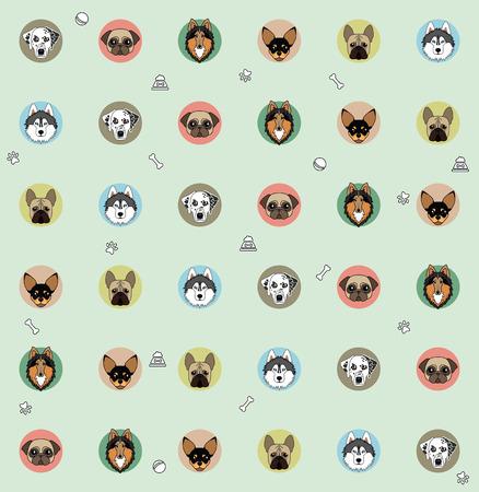 pug nose: wallpaper different dog breeds Illustration
