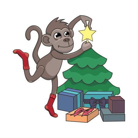 chimpances: Mono decorar un �rbol de Navidad Vectores