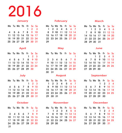 2016 calendar for each month