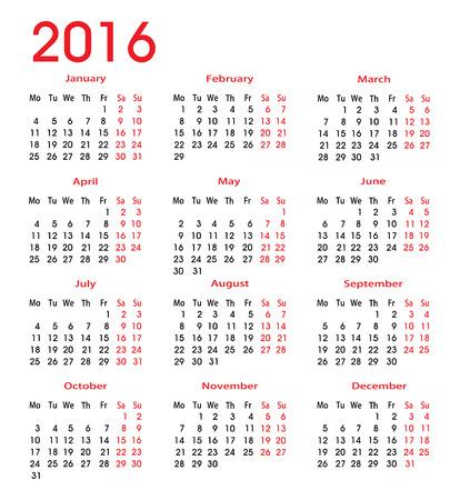 cronologia: 2016 calendario para cada mes