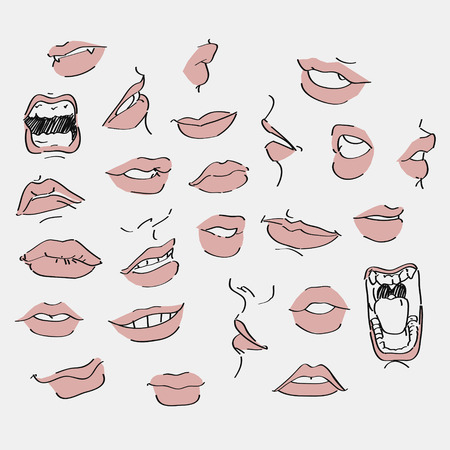 kiss lips: set of lips with design element Illustration