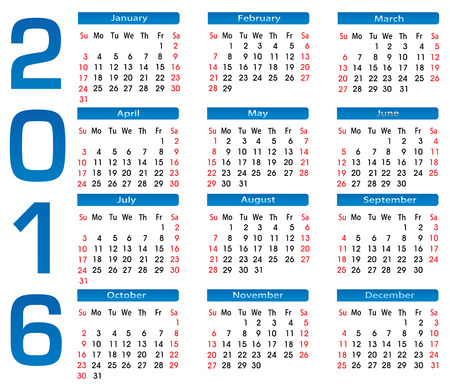 chronology: 2016 calendar for each month