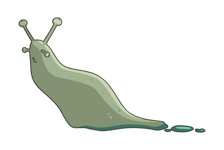slug: vector funny cartoon gray slug Illustration