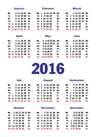 cel: monthly calendar 2016