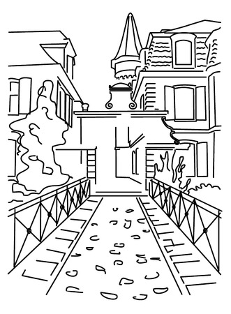 quiet: Black outline of a small quiet street Illustration