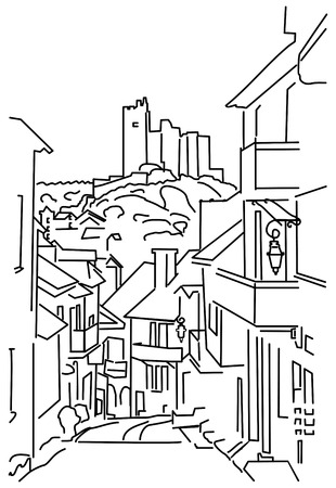 quiet: vector outline of a quiet French streets