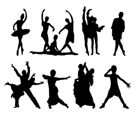 actor: Black vector silhouettes of dancing people