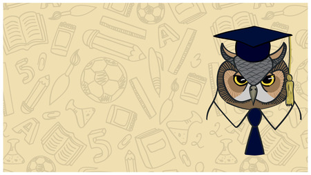 smart card: symbol of wisdom owl on background contour school facilities Illustration
