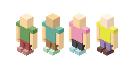 intent: Isometric set of colored figurines man