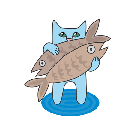 blue fish: vector illustration blue cat caught two fish