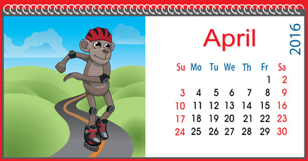 ecstasy: Horizontal calendar with a monkey in April Illustration
