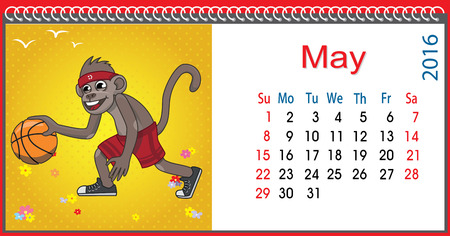 horizontal: Horizontal calendar with a monkey in May