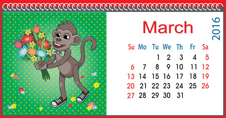 mather: Horizontal calendar with a monkey in March