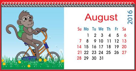 original bike: Horizontal calendar with a monkey in August