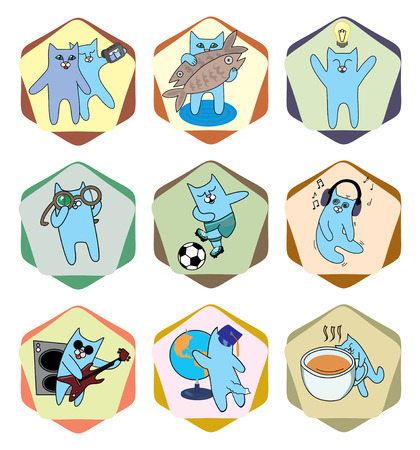have fun: set of icons with funny cats. play, learn, have fun, think Illustration