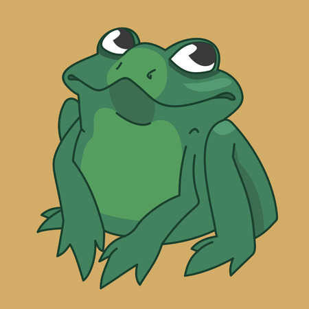 vector image funny green frog on the background Illustration