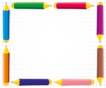 lapiz y papel: Marco del vector de lápices de colores Vectores