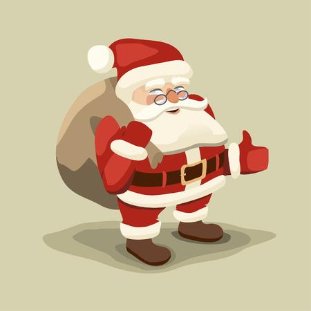 optimistic: Optimistic Santa carries a bag of gifts Illustration
