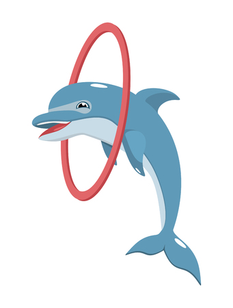 cheerful dolphin jumping through a hoop Illustration