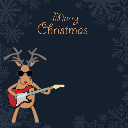 title emotions: vector Christmas card with a deer-guitarist