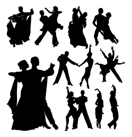 incendiary: Dancing couples. Set of black vector outlines Illustration