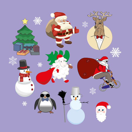 vector set of Christmas characters Illustration