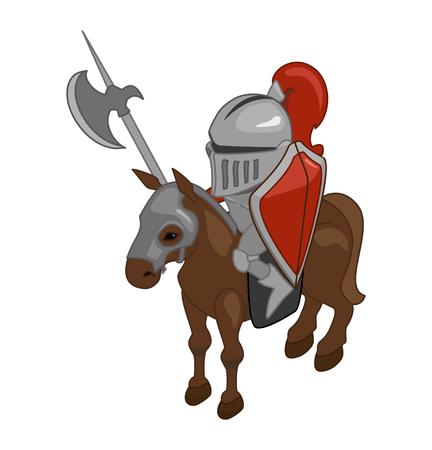 halberd: Stylized vector knight on horseback